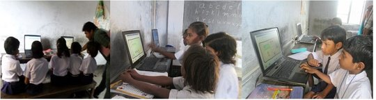 children using software in school