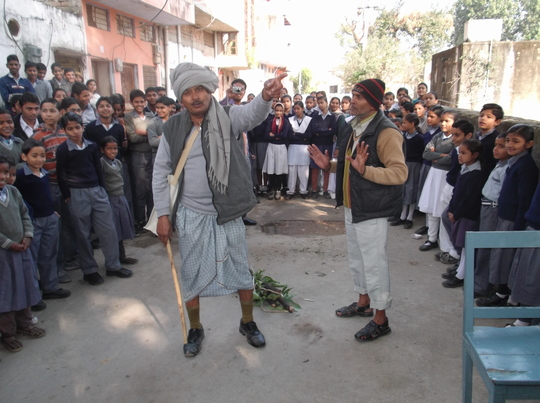 Climate Leaders performs street play for children