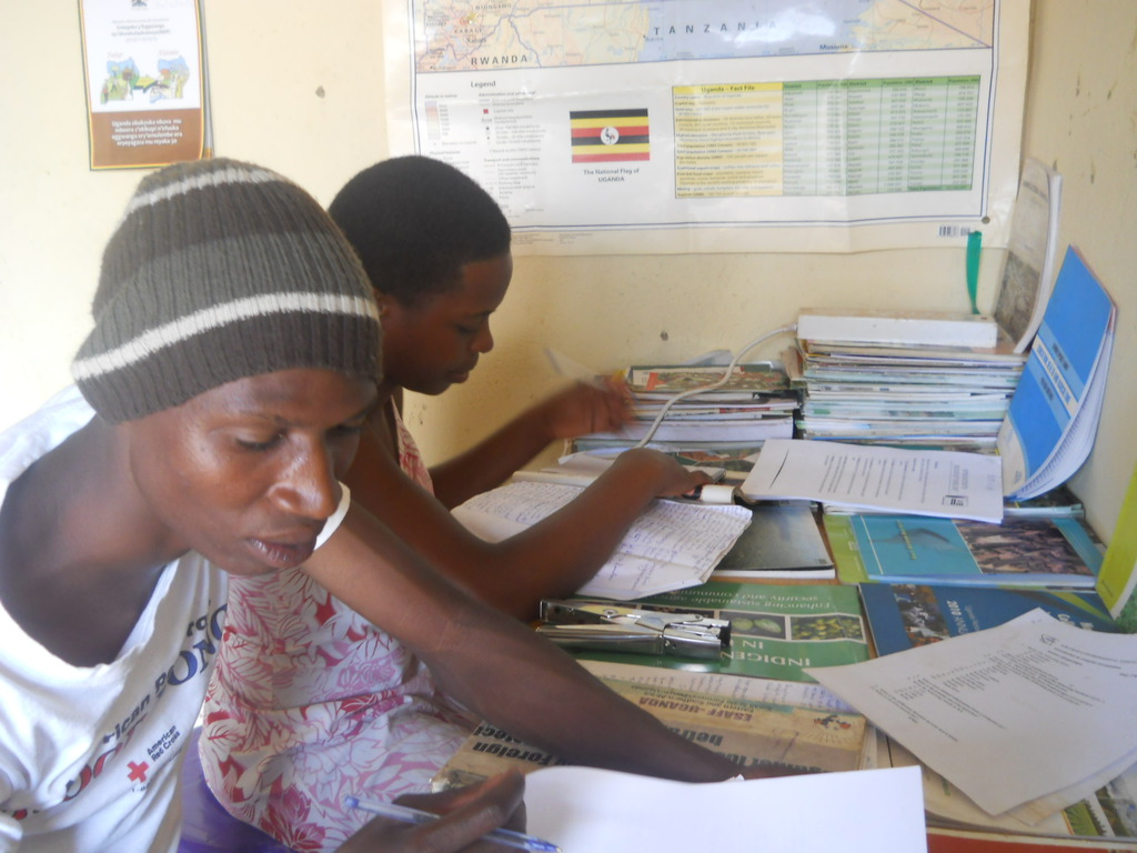 Some of the students at the Centre studying