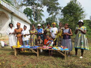 Women's group with recycled plastic crafts