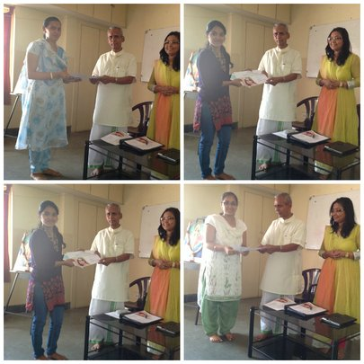 The girls receiving certificates