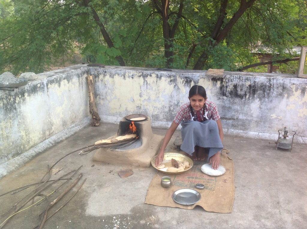 Nisha making chapatis (Indian Bread) in Rajasthan
