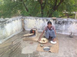 Nisha making chapatis (Indian Bread) in Rajasthan