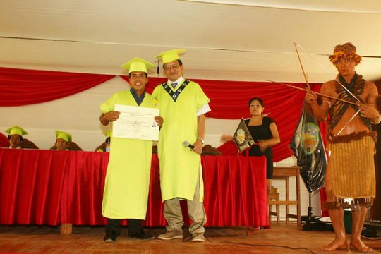 Our scholarship student receiving his degree