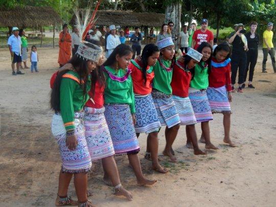 Shipibo girls performing a traditional dance
