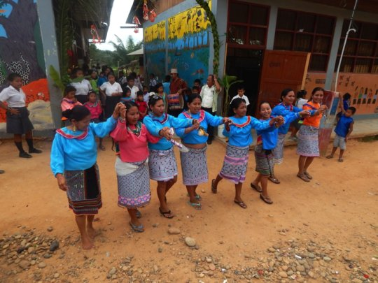 Welcome outside school at Bena Jema