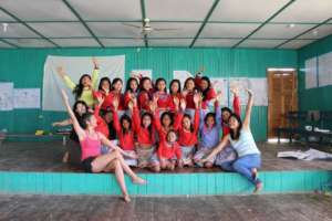 Girls and facilitators from workshop in Paoyan