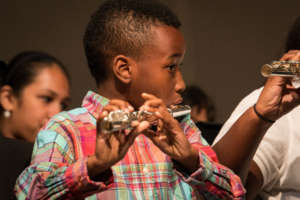 A flutist concentrates on his music-making!