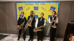 Band students pose after a concert!