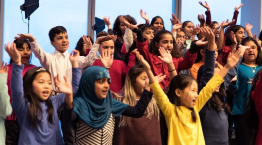 Choir from P.S. 154 in Queens singing