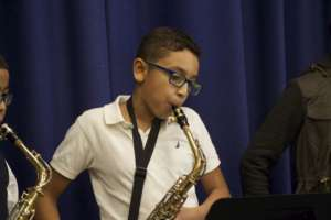 A saxophone player gets into his groove!