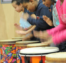 Student groove to the beat of their drums!