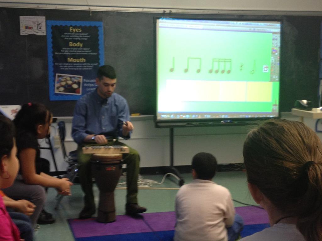 Students listen to rhythms produced