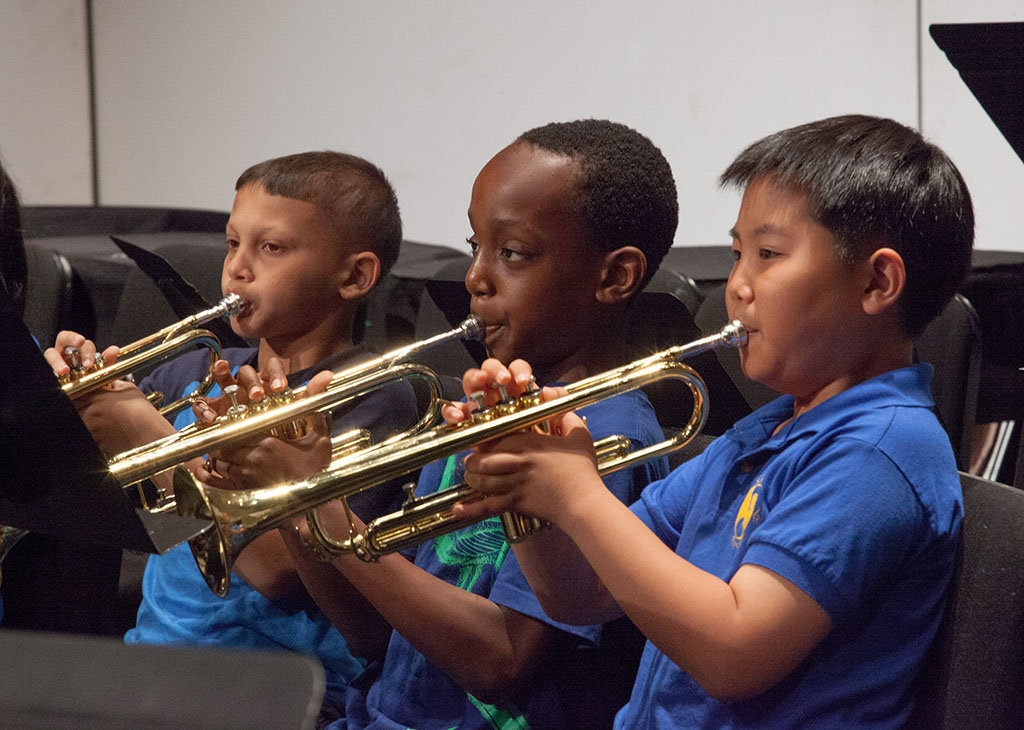 Trumpet players concentrate on their music-making!