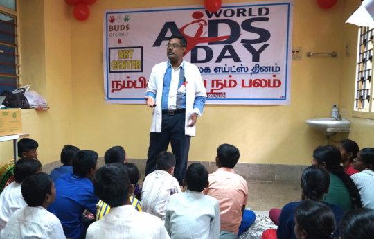 Medical Officer addressing on living positively