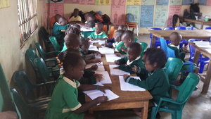 Children study in their new seats
