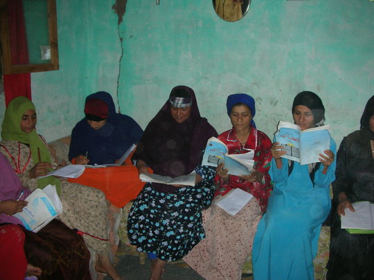 Women practice reading together!