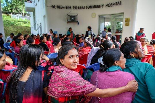 Nepali women awaiting treatment each morning