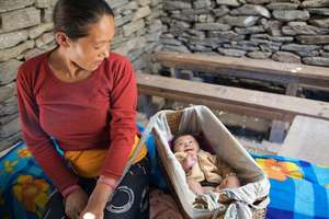 Nepalese woman and baby