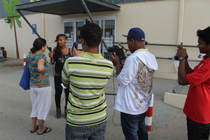 Youth from Bonaire working on documentary