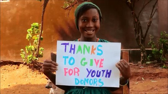 Christiana says thanks to Give For Youth donors