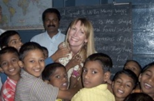 Shelley Seale visiting the orphanage