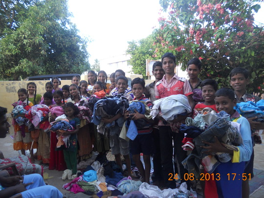Happy children!\ with new clothing!