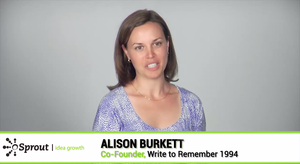 Alison Burkett, co-founder, Write to Remember 1994