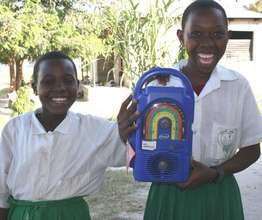 Two excited Mambo Elimu students in Luhanga