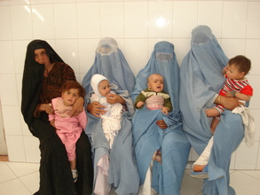 Afghan mothers at a clinic