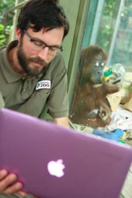 Orangutan Keeper at Toronto Zoo video conferencing