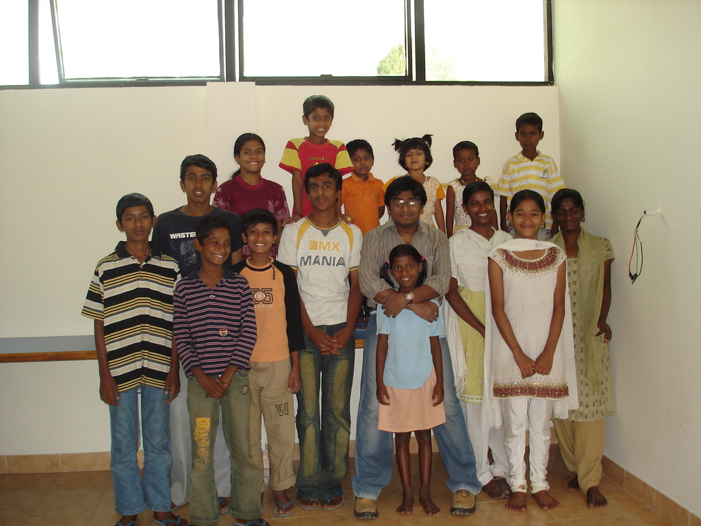 Prasanna with all the kids at Bangalore