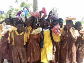 Girls celebrating their DfG Kits in northern Ghana