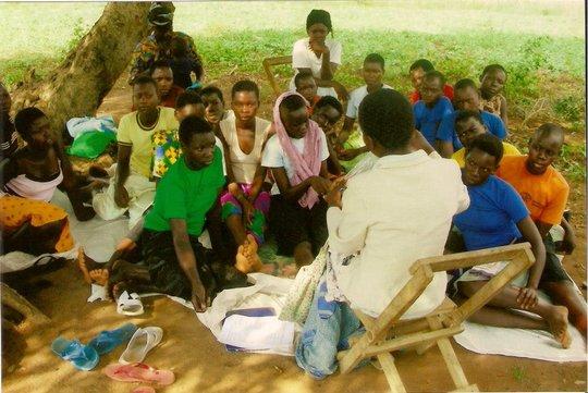 Joan training girls in Uganda