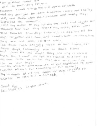 Letter of thanks from girl in Uganda