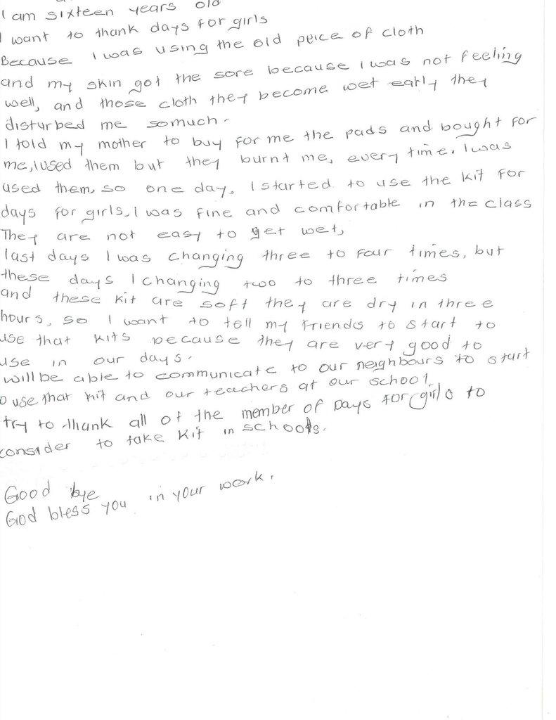 Letter of thanks from girl in Uganda
