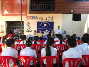 Students gathering in Final Spelling Competition