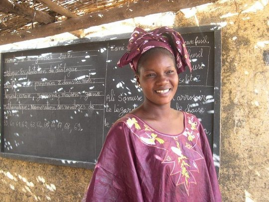 A teacher in the village of Famana