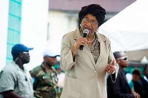 President Sirleaf speaking to our girls!