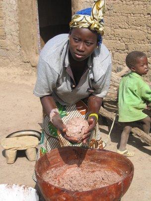 Village Woman Making Shea Butter