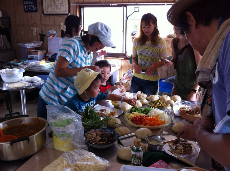 making lunch with the families