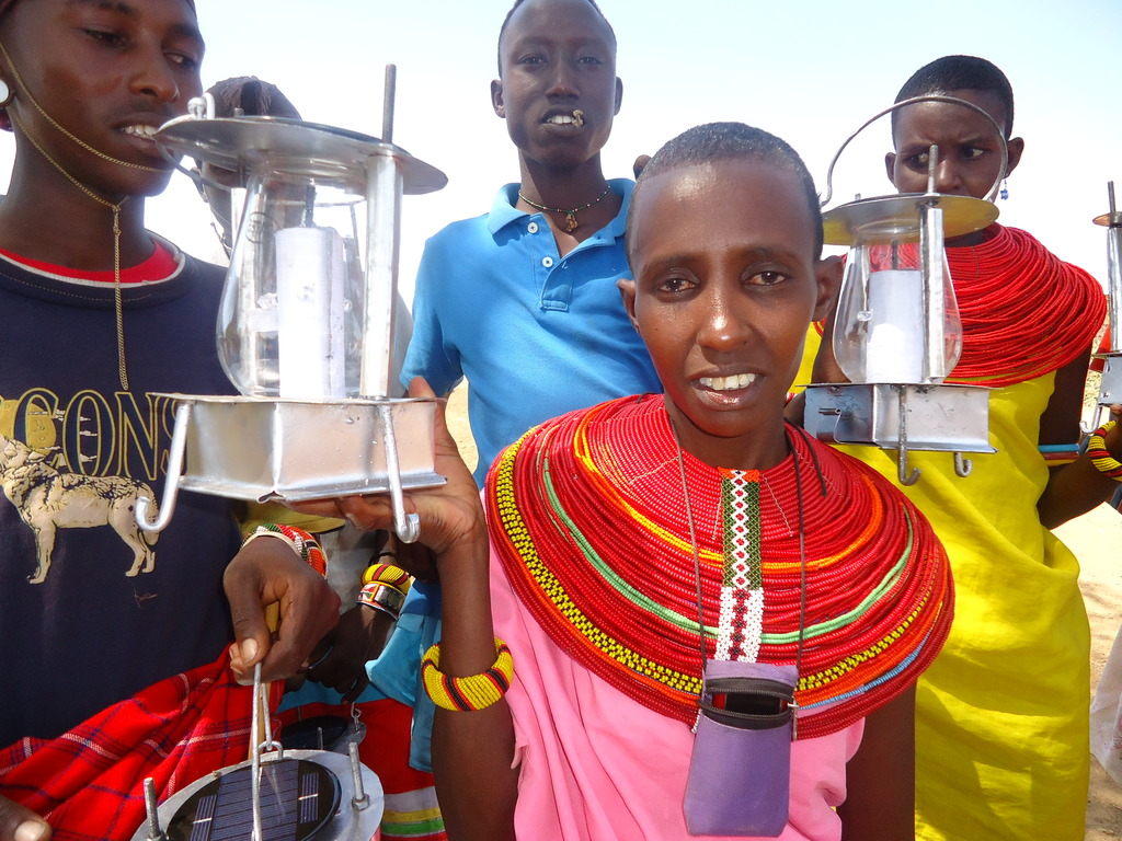 Shepherd student with the solar lamp