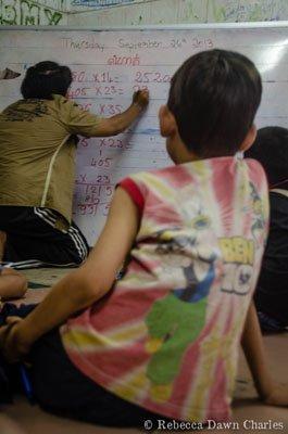 Diamond teaching the math class