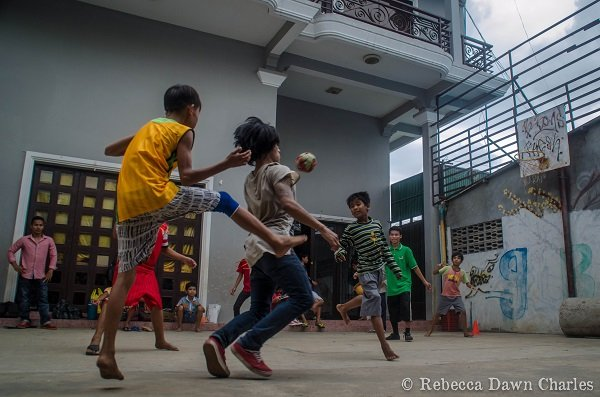 Games in the courtyard outside