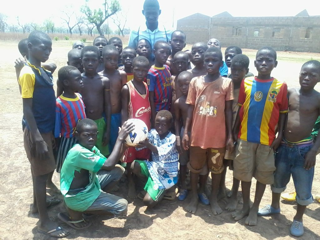 Youth of Laligu Community with donated ball
