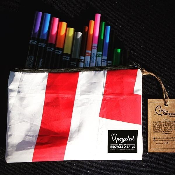 An Upcycled Sails pencil bag.