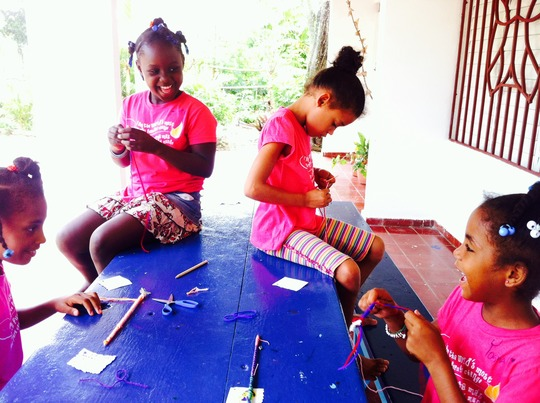 Happy Girls in Art Therapy Class
