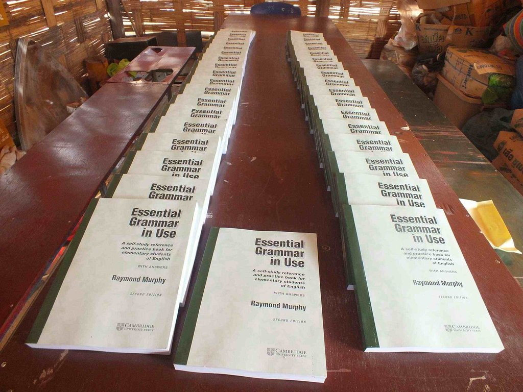 Grammar books donated to the camp