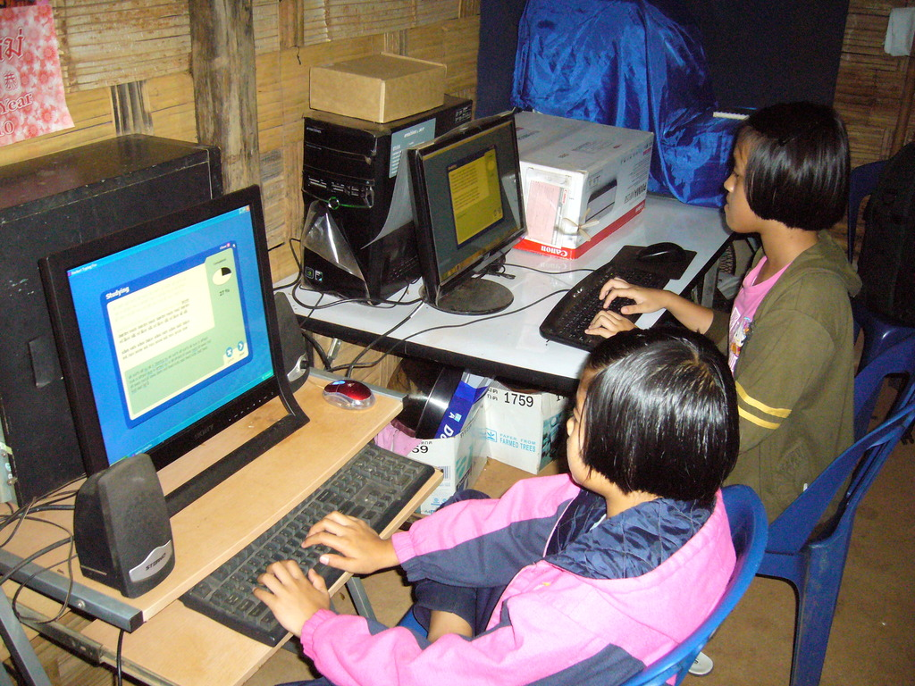 Computer class at the refugee camp