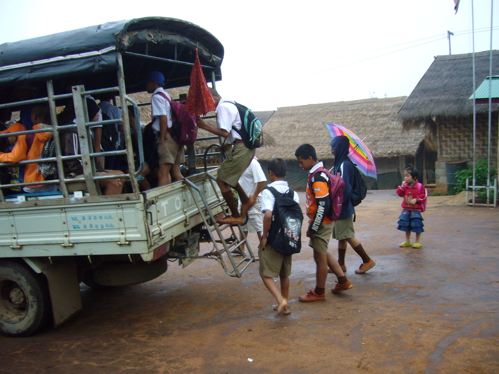 The children on their way to the local school